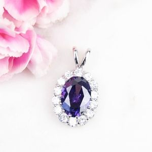Large Cubic Zirconia Pendant | Purple